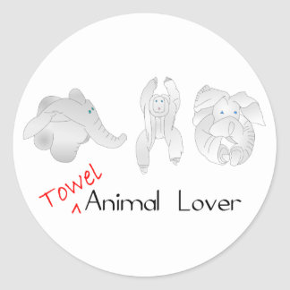 Towel Animal Lover Classic Round Sticker