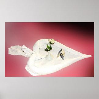 Towel Art, White Heart,Rose, Swan,  Romantic Back Print