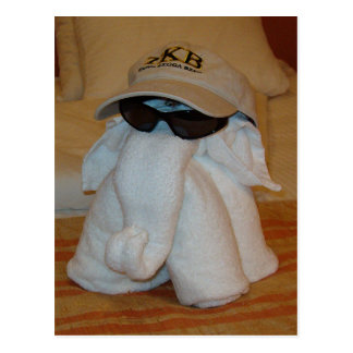 Towel Elephant with Sunglasses Post Cards