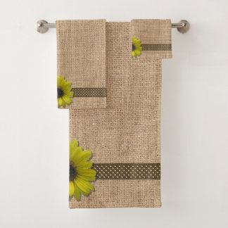 Towel Set - Burlap and Rain-Drenched Sunflower