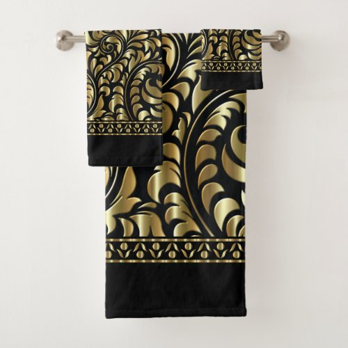 Towel Set - Drama in Black and Gold