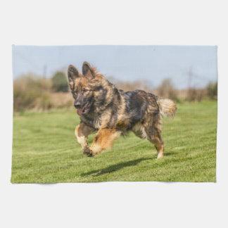 Towel with running German Shepherd Dog Alsatian