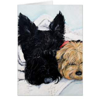 Toweling Off! Scottie and Yorkie Buddies Card