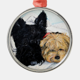 Toweling Off! Scottie and Yorkie Buddies Metal Ornament