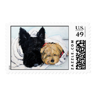 Toweling Off! Scottie and Yorkie Buddies Postage Stamp