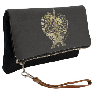 Tower and Inscriptions Paris in Heart Clutch