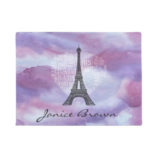 Tower and Inscriptions Paris in Heart Doormat