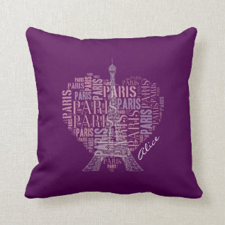 Tower and Inscriptions Paris in Heart Throw Pillow
