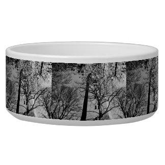 Tower behind trees dog bowl