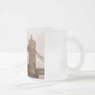 Tower Bridge 10 Oz Frosted Glass Coffee Mug