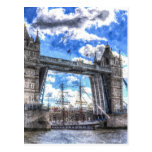 Tower Bridge and passing ship Art Post Cards