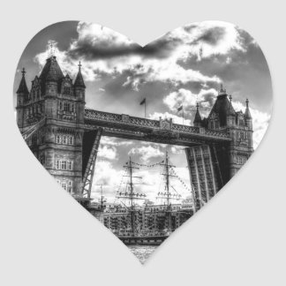 Tower Bridge and passing ship Heart Sticker