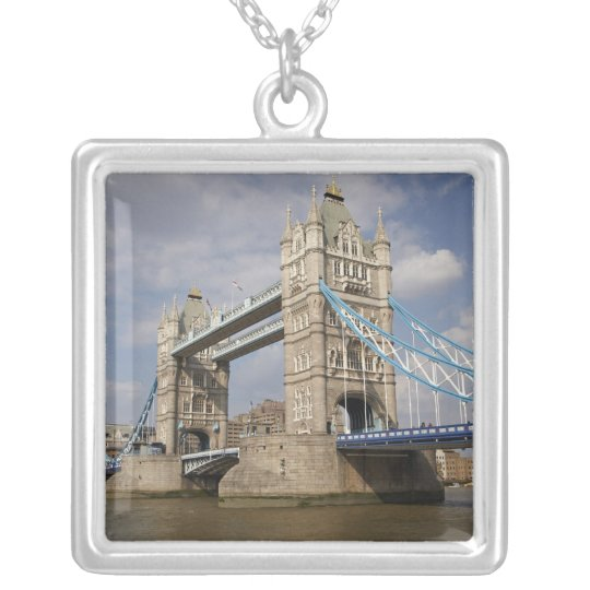 Tower Bridge and River Thames, London, Silver Plated Necklace