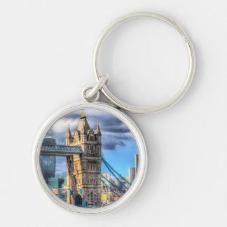 Tower Bridge and the City Silver-Colored Round Keychain