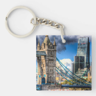 Tower Bridge and the City Single-Sided Square Acrylic Keychain