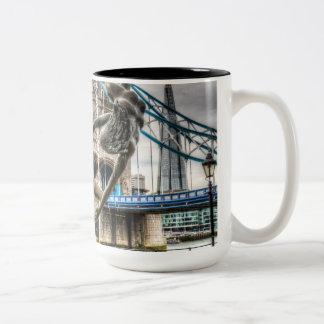 Tower Bridge and the Girl and Dolphin Statue Coffee Mug