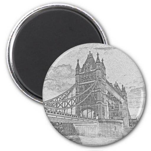 Tower Bridge Art 2 Inch Round Magnet