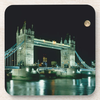 Tower Bridge at Night, London, England Beverage Coaster