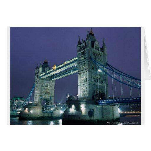 Tower Bridge at night, London, England Card