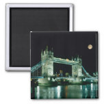 Tower Bridge at Night, London, England 2 Inch Square Magnet