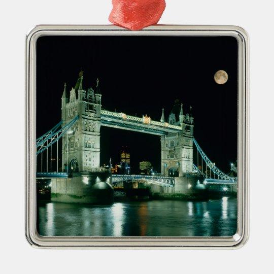 Tower Bridge at Night, London, England Metal Ornament