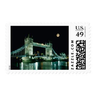 Tower Bridge at Night London England Stamp