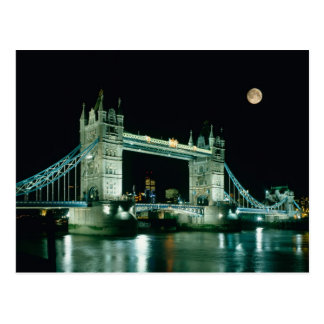 Tower Bridge at Night, London, England Postcard