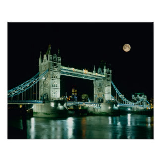 Tower Bridge at Night, London, England Poster