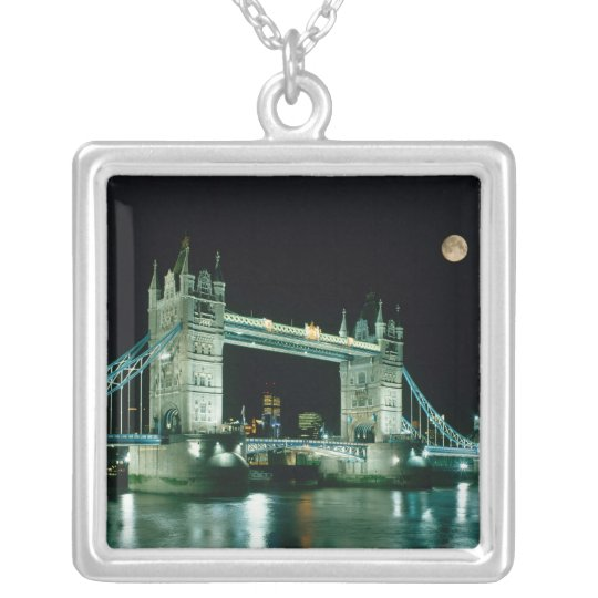 Tower Bridge at Night, London, England Silver Plated Necklace