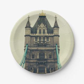 Tower Bridge Closeup, London, United Kingdom 7 Inch Paper Plate