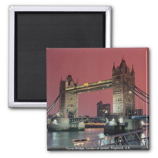 Tower Bridge, London at sunset, England, U.K. Magnet