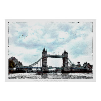 Tower Bridge London, England Art Illustration Poster