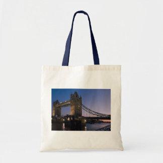 Tower Bridge London England Water Night City Tote Bag