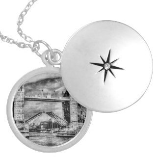 Tower Bridge London opening Round Locket Necklace