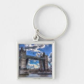 Tower Bridge London Silver-Colored Square Keychain