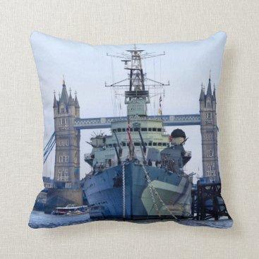 Beach Themed Tower Bridge London. Throw Pillow