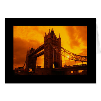 Tower Bridge Orange Light Greeting Card