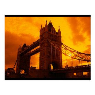 Tower Bridge Orange Light Postcard