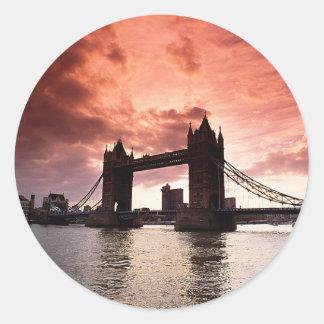 Tower Bridge Red Sky Round Sticker