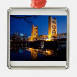 Tower Bridge - Sacramento, CA Square Metal Christmas Ornament