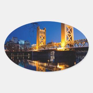 Tower Bridge - Sacramento, CA Oval Sticker