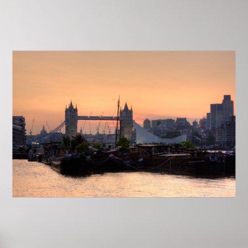 Tower Bridge sunset in London England Poster