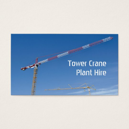 Tower crane and yellow excavator business card