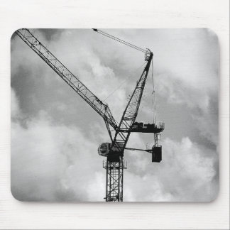 Tower Crane - Black and White Mouse Pad