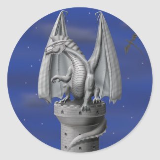Tower Guardian - Silver Dragon Classic Round Sticker