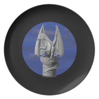 Tower Guardian - Silver Dragon Melamine Plate