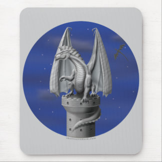 Tower Guardian - Silver Dragon Mouse Pad