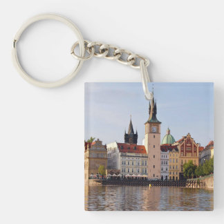 Tower in Prague Double-Sided Square Acrylic Keychain