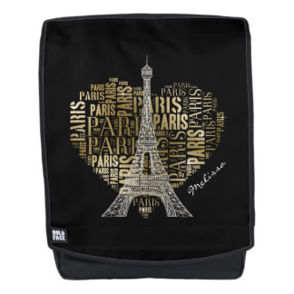 Tower & Inscriptions Paris in Heart Backpack