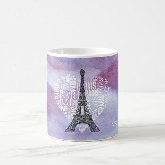 Tower & Inscriptions Paris in Heart Coffee Mug